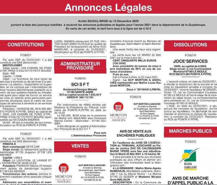 Les annonces légales en Guadeloupe